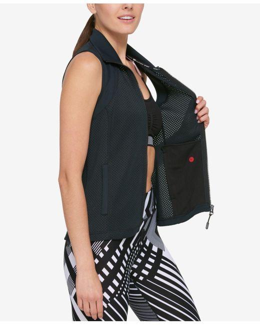 Tommy Hilfiger | Black Perforated Zip-front Vest | Lyst