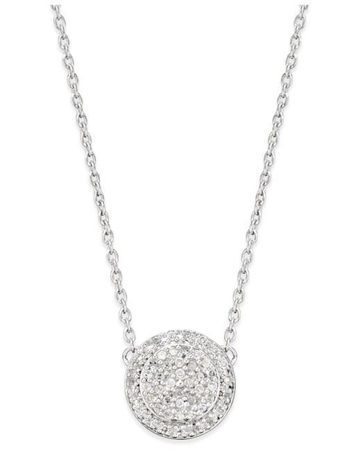 Macy's - Metallic Diamond Pave' Cluster Disc Pendant Necklace (1/5 Ct. T.w.) In Sterling Silver - Lyst