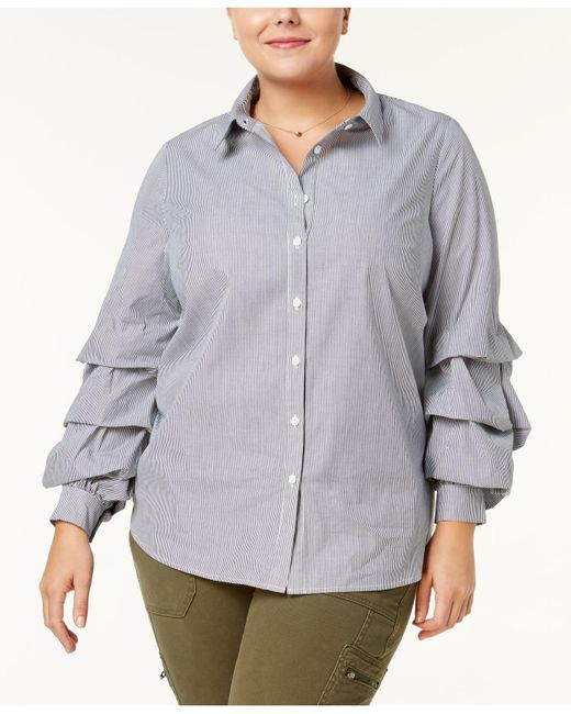 Soprano - Multicolor Plus Size Cotton Tiered-sleeve Blouse - Lyst