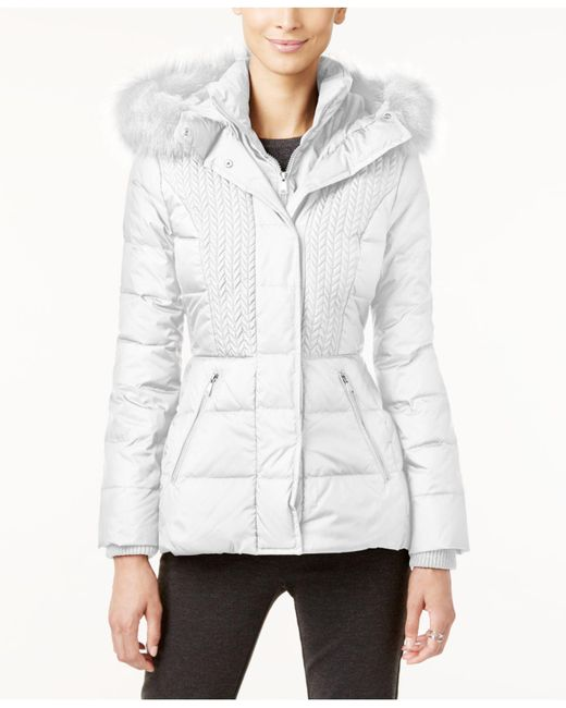Jones New York - White Faux-fur-trimmed Hooded Quilted Puffer Coat - Lyst