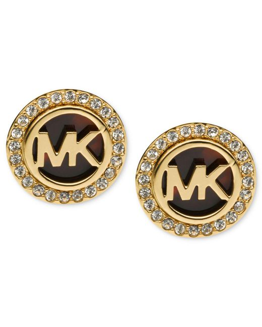 Michael Kors - Metallic Gold-tone Tortoise And Pave Logo Stud Earrings - Lyst