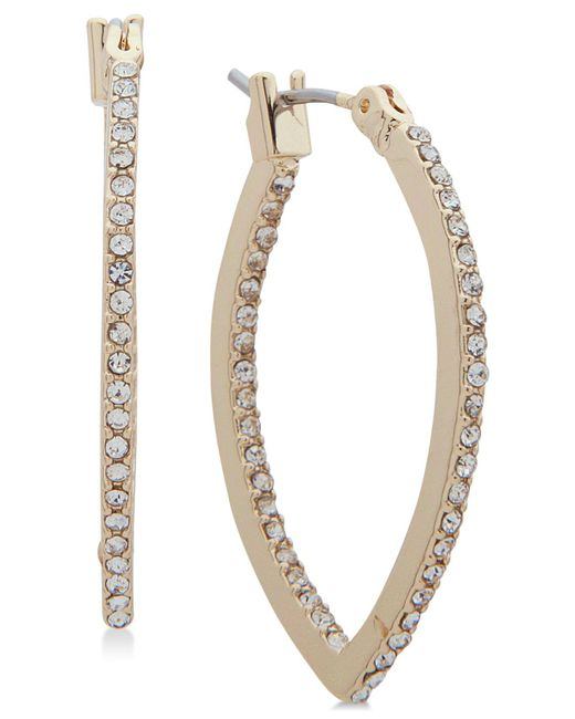 Lonna & Lilly - Metallic Gold-tone Crystal Pointed Hoop Earrings - Lyst