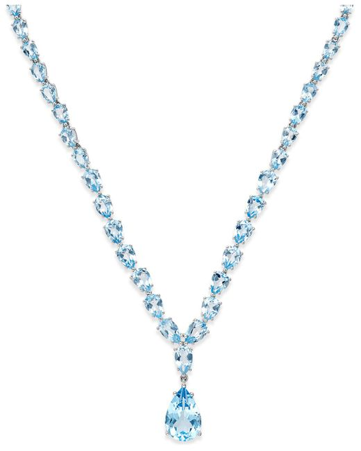 Macy's - Metallic Blue Topaz Statement Necklace (30 Ct. T.w.) In Sterling Silver - Lyst