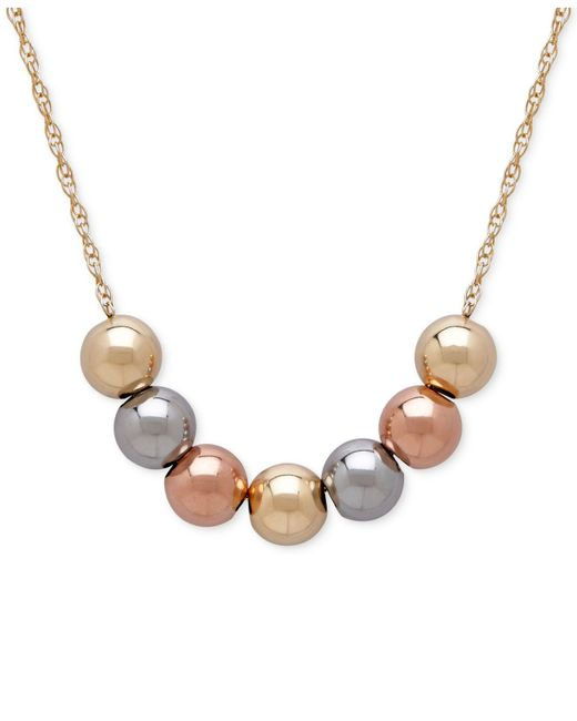 Macy's - Metallic Tri-tone Beaded Statement Necklace In 10k Yellow, White And Rose Gold - Lyst