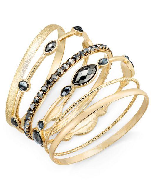 INC International Concepts   Metallic Gold-tone 6-pc. Set Hematite Stone Bangle Bracelets,   Lyst