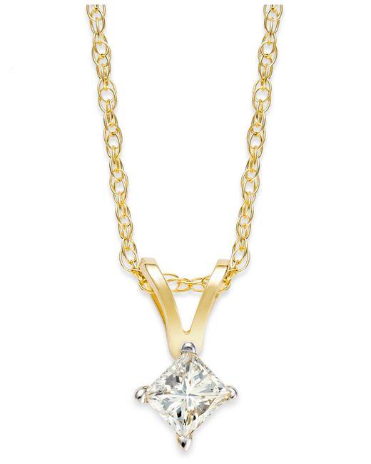 Macy's | Metallic Princess-cut Diamond Pendant Necklace In 10k Gold (1/6 Ct. T.w.) | Lyst