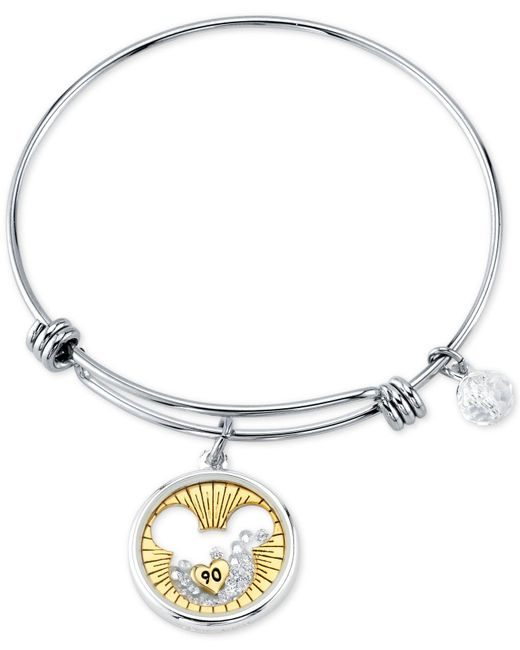Disney - Metallic 's Mickey Mouse Crystal Charm Bangle Bracelet For Unwritten In Stainless Steel And Gold-tone - Lyst