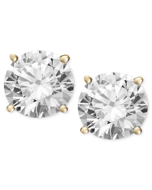 Macy's   Metallic Diamond Stud Earrings (1/2 Ct. T.w.) In 14k White Or Yellow Gold   Lyst