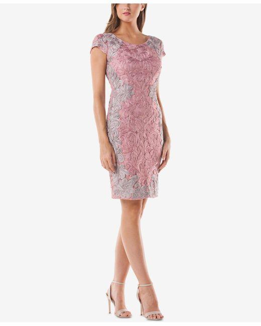 JS Collections - Pink Soutache Lace Sheath Dress - Lyst