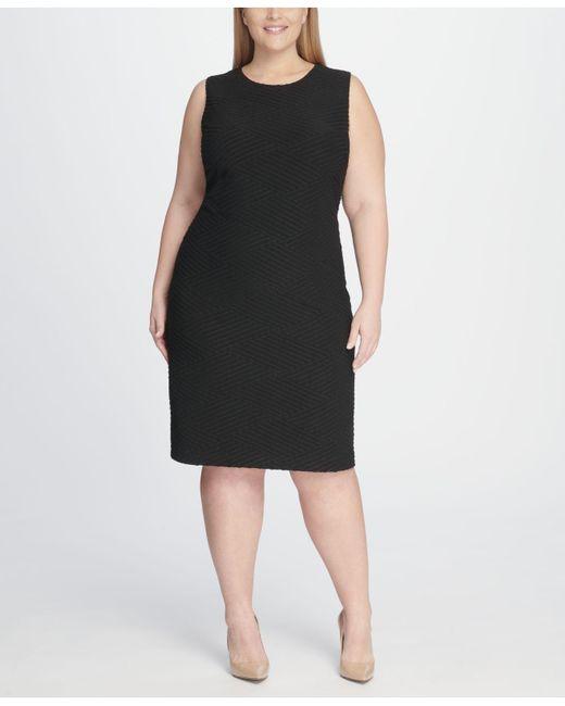 c1d7ca30f95 Tommy Hilfiger - Black Plus Size Tidal Knit Sheath Dress - Lyst ...