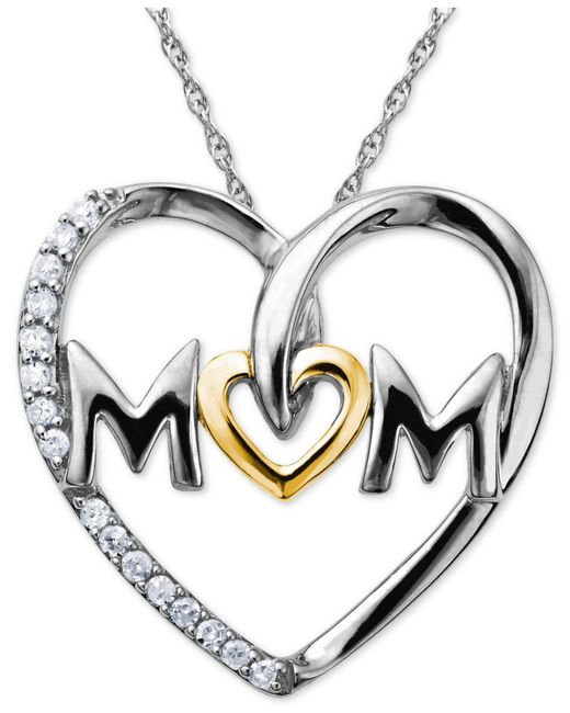 Macy's - Metallic Mom Diamond Heart Pendant In Sterling Silver And 14k Gold (1/10 Ct. T.w.) - Lyst