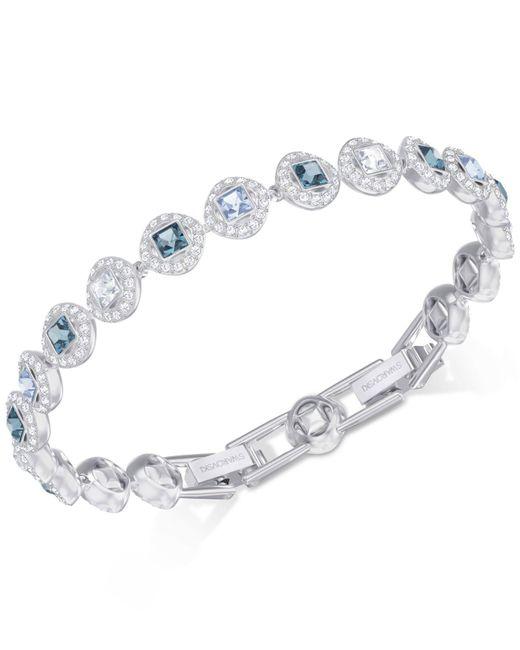 Swarovski - Metallic Silver-tone Halo & Crystal Link Bracelet - Lyst