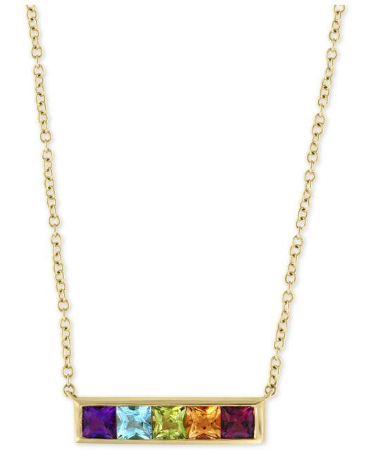 "Effy Collection - Metallic Effy® Multi-gemstone Horizontal Bar 18"" Pendant Necklace (1-1/4 Ct. T.w.) In 14k Gold - Lyst"