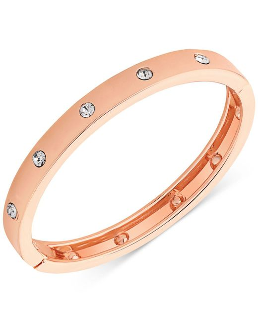 Guess - Metallic Rose Gold-tone Hinge Bracelet With Clear Stones - Lyst