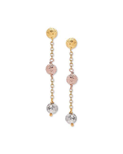 6b1057635 Macy's - Metallic Tricolor Textured Ball Triple Drop Earrings In 14k Gold,  White Gold, ...