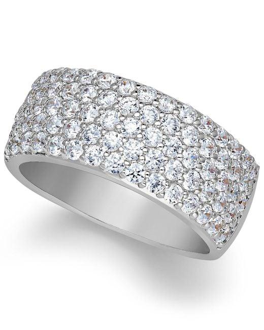 Arabella - Metallic Sterling Silver Ring, Swarovski Zirconia Pave Band - Lyst