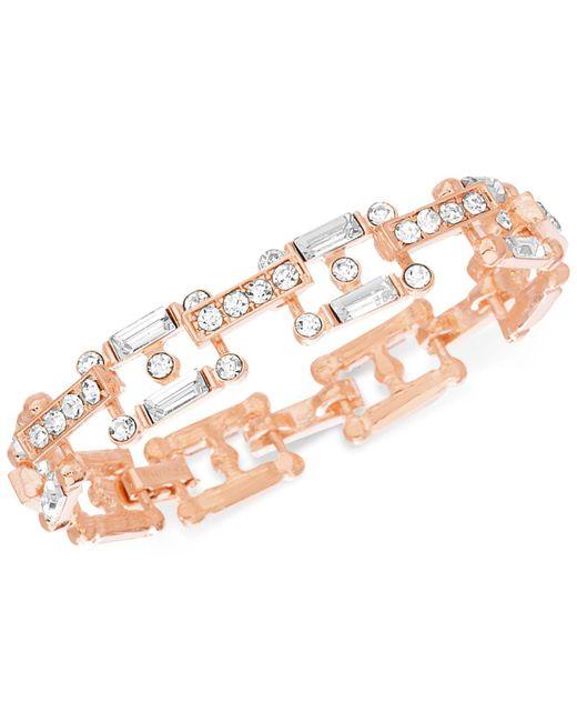 Steve Madden - Pink Rose Gold-tone Crystal Link Bracelet - Lyst