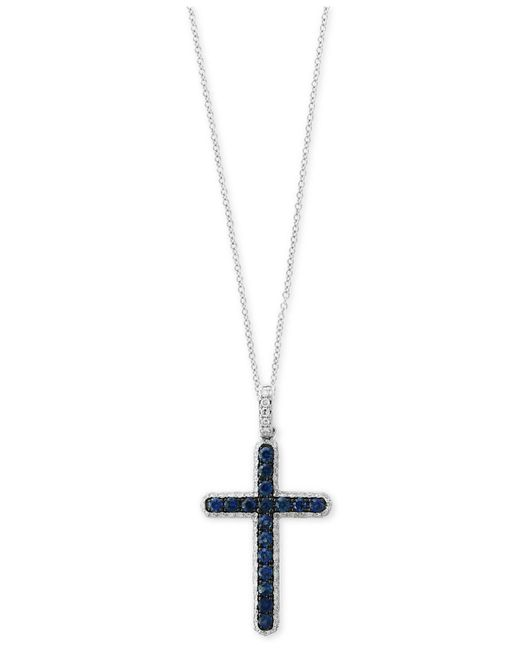 Effy Collection | Blue Sapphire (1/2 Ct. T.w.) And Diamond (1/4 Ct. T.w.) Cross Pendant Necklace In 14k White Gold | Lyst