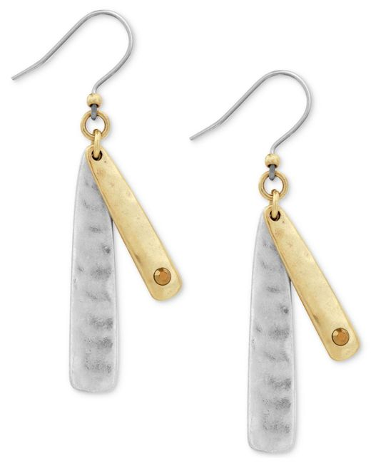 Lucky Brand - Multicolor Two-tone Double-layer Linear Drop Earrings - Lyst