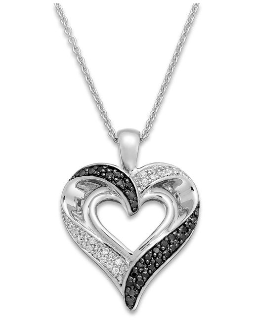 Macy's - Metallic Black And White Diamond Heart Pendant Necklace In Sterling Silver (1/2 Ct. T.w.) - Lyst