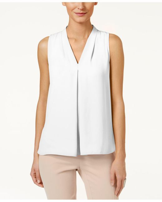 Vince Camuto | White Sleeveless Inverted-pleat Blouse | Lyst