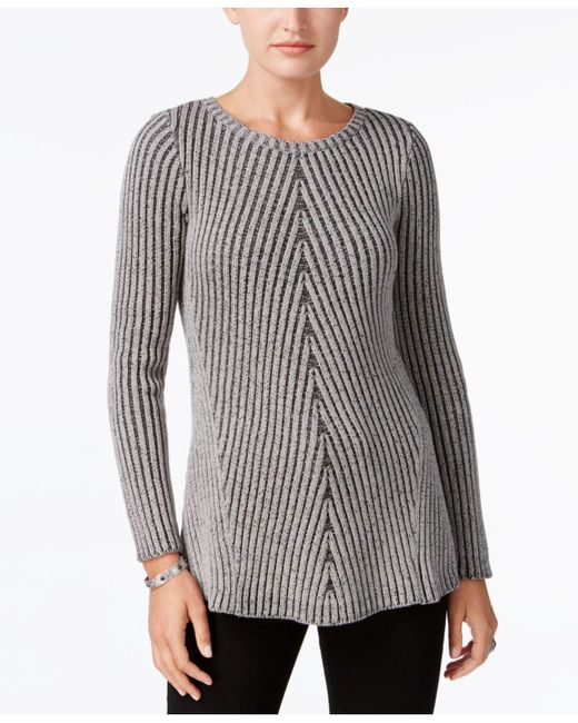 Style & Co. | Gray Multi-directional Ribbed Sweater | Lyst
