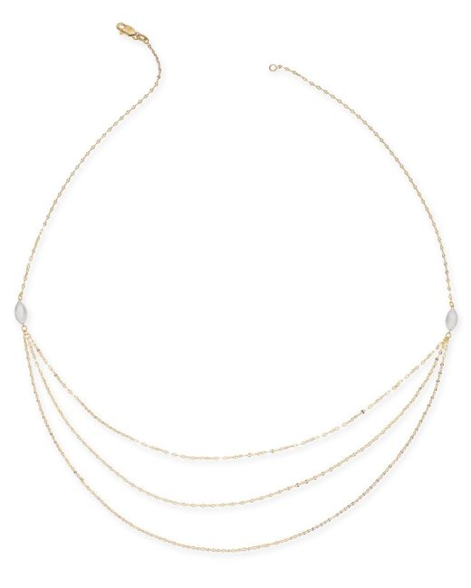 "Macy's - Metallic Multi-layer Chain 18"" Statement Necklace In 14k Gold & White Gold - Lyst"