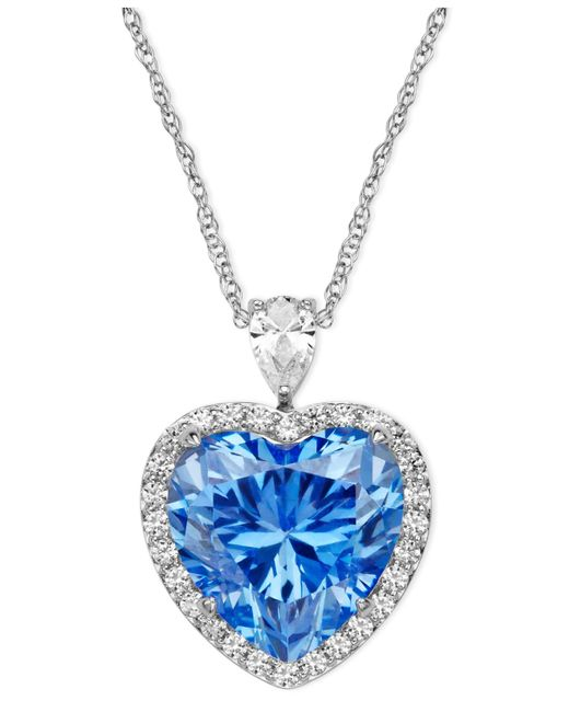 Arabella | Metallic Sterling Silver Necklace, Blue And White Swarovski Zirconia Heart Pendant (19-5/8 Ct. T.w.) | Lyst