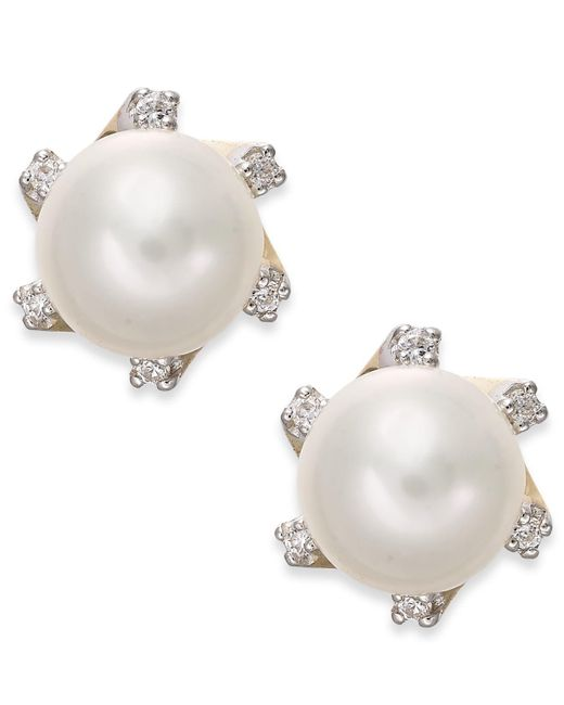 Macy's | Metallic Cultured Freshwater Pearl (7mm) And Diamond Accent Stud Earrings In 14k Gold | Lyst