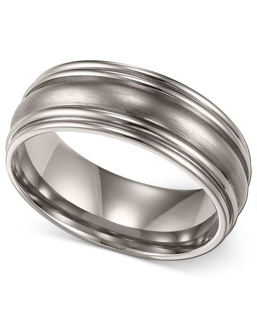 Macy's Men's Titanium Ring, Comfort Fit Wedding Band (7mm