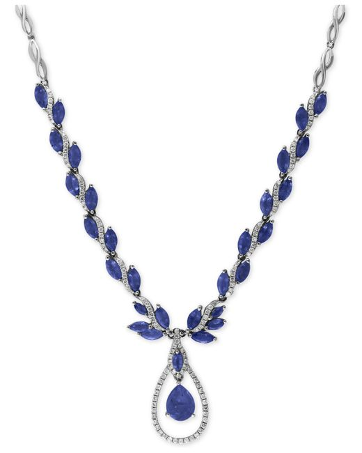 Effy Collection - Metallic Sapphire (10-1/2 Ct. T.w.) And Diamond (9/10 Ct. T.w.) Fancy Teardrop Collar Necklace In 14k White Gold - Lyst
