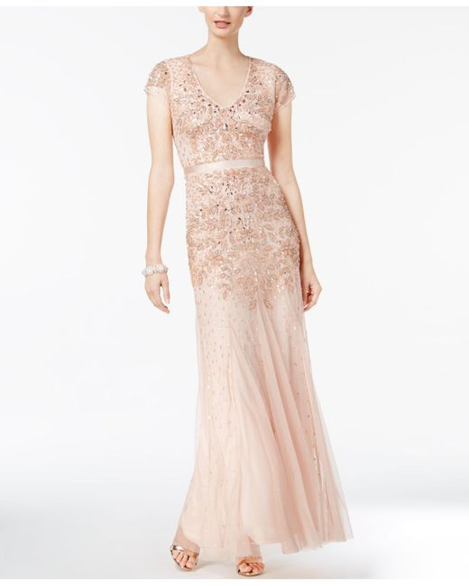 Adrianna Papell   Pink Embellished Mermaid Gown   Lyst