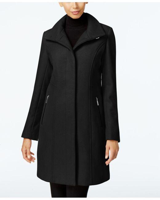 Kenneth Cole | Black Wool-blend Seamed Walker Coat | Lyst