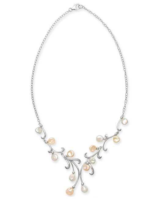 """Macy's - Metallic Cultured White & Pink Keshi Freshwater Pearl (7mm) 17"""" Statement Necklace In Sterling Silver - Lyst"""