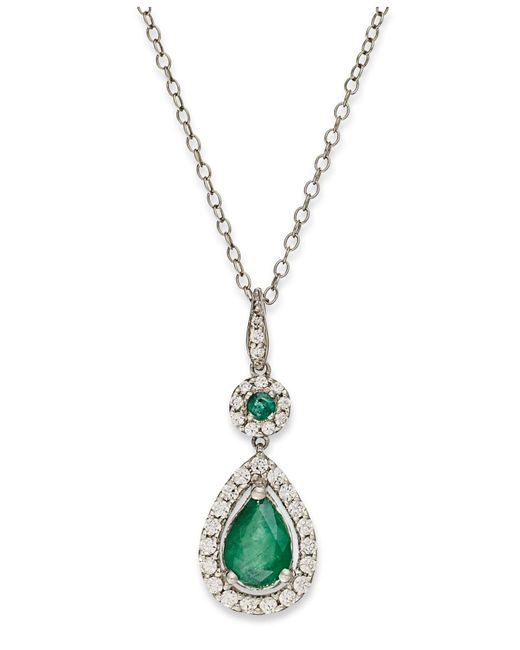 Macy's | 14k White Gold Necklace, Emerald (1 Ct. T.w.) And Diamond (1/3 Ct. T.w.) Pear Drop Pendant | Lyst