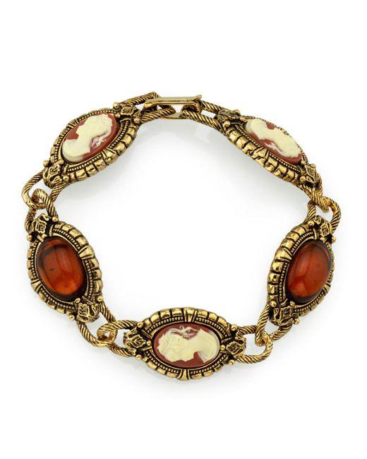 2028 - Metallic Gold-tone Brown And Simulated Dark Orange Cameo Bracelet - Lyst