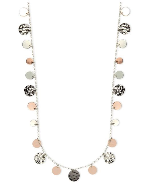 Nine West | Metallic Necklace, Tri-tone Hammered Disc Necklace | Lyst