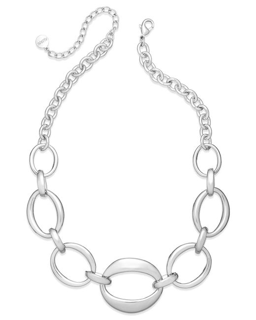 Charter Club | Metallic Silver-tone Oval Chain Frontal Necklace | Lyst