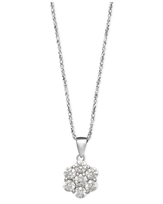 Arabella - 14k White Gold Necklace, Swarovski Zirconia Round Pave Pendant (1-3/8 Ct. T.w.) - Lyst