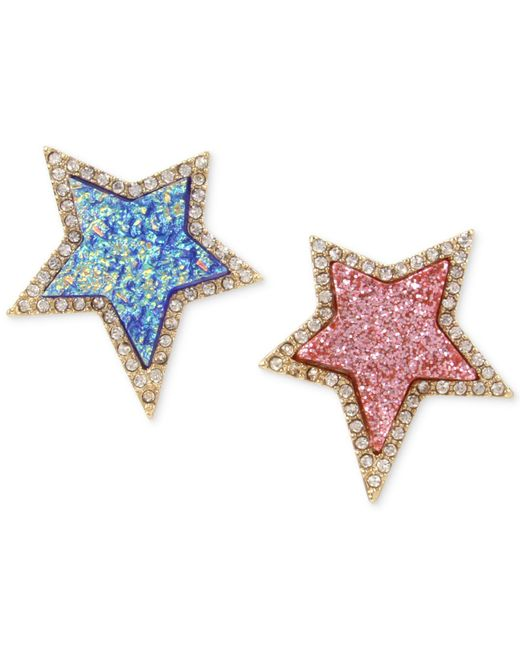 Betsey Johnson | Blue Gold-tone Pavé & Colored Stone Star Mismatch Earrings | Lyst