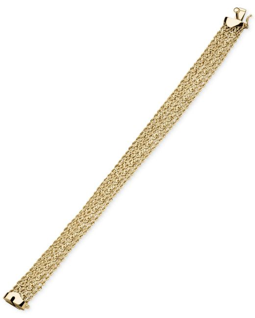 Macy's - Metallic Byzantine Multi-row Rope Bracelet In 14k Gold - Lyst