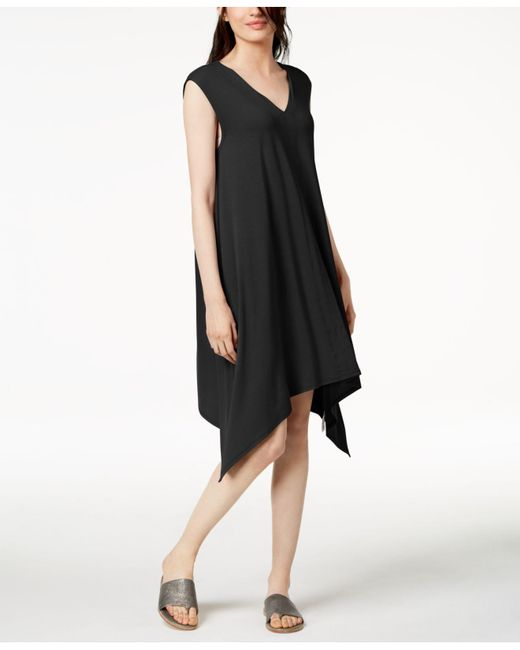 Eileen Fisher - Black Stretch Jersey Handkerchief-hem Dress - Lyst