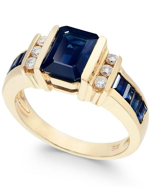 Effy Collection - Blue Sapphire (2-1/4 Ct. T.w.) And Diamond (1/6 Ct. T.w.) Ring In 14k Gold - Lyst