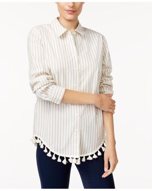 Kensie | White Cotton Striped Tasseled Shirt | Lyst