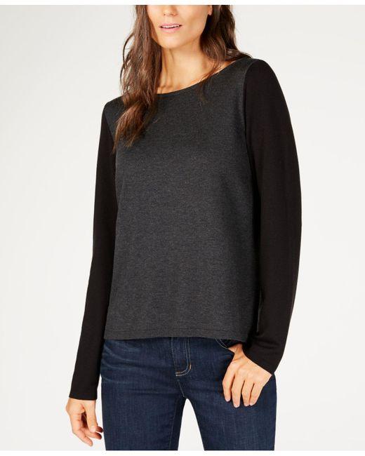 Eileen Fisher - Black ® Bateau-neck Colorblocked Sweater - Lyst
