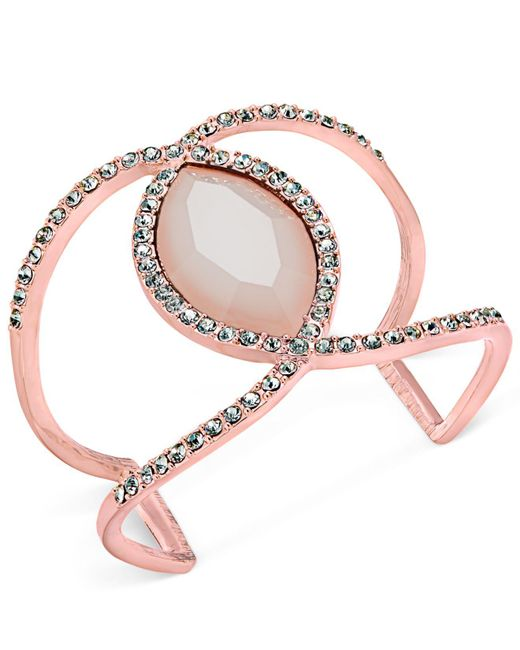 INC International Concepts - Metallic Pavé & Colored Stone Open Cuff Bracelet - Lyst
