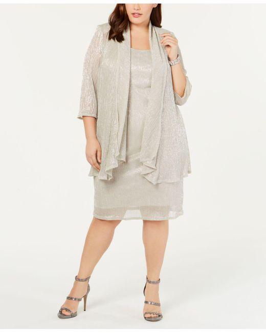 e8e24581d4340 ... R   M Richards - Multicolor R m Richards Plus Size Sleeveless Metallic  Dress And Jacket ...