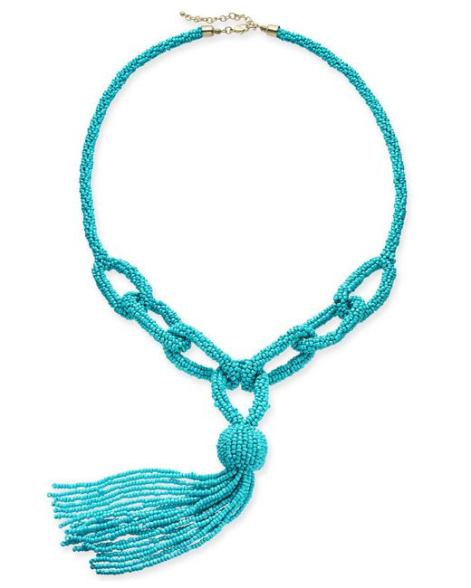"""INC International Concepts - Blue I.n.c. Gold-tone Beaded Loop Lariat Necklace, 38"""" + 3"""" Extender, Created For Macy's - Lyst"""