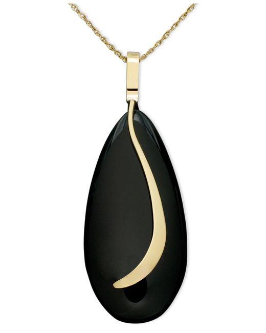 Macy's - Black 14k Gold Necklace, Onyx Almond Sweep Pendant - Lyst