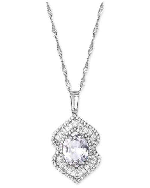 Macy's - Metallic Cubic Zirconia And Simulated Stone Pendant Necklace In Sterling Silver - Lyst